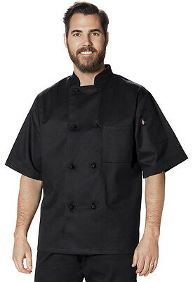 Dickies Unisex Classic Knot-Button Chef Coat Black DC48 BLK