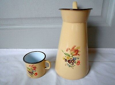 French Vintage Enamelware FLORAL Body PITCHER Water JUG + floral MUG stamped