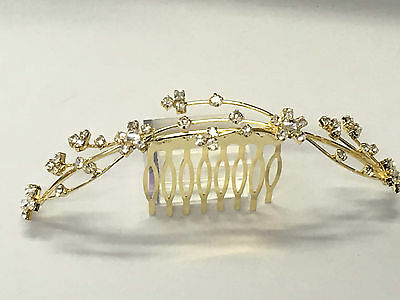 Bridal hair comb in gold colour with crystal rhinestones