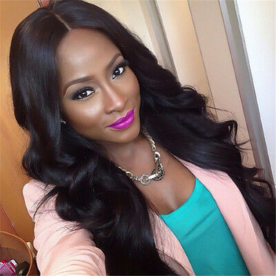 Black #1b body wave synthetic lace front wig Full Head Lace Wig For women