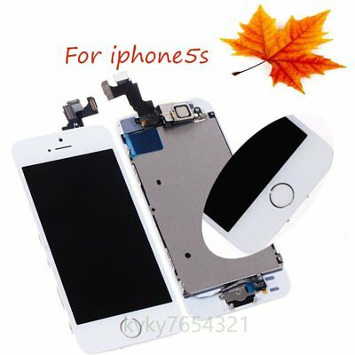 White LCD  Screen Digitizer + Camera Button Replacement Assembly for iPhone 5S