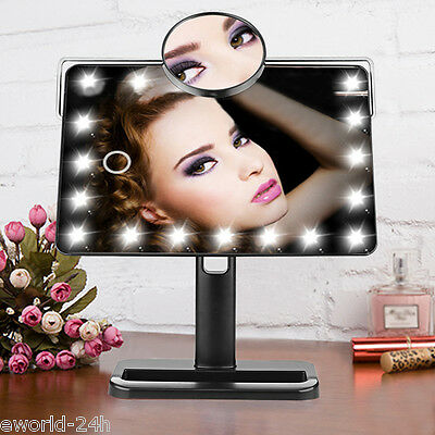 Women Portable 20LED Lighted Beauty Make up Cosmetic 10X Magnifying Stand Mirror