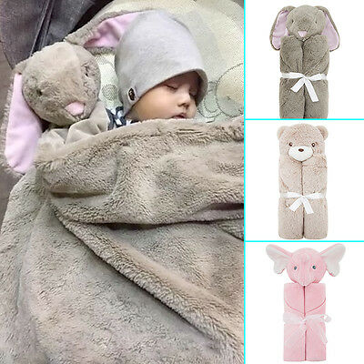 Elephant Bunny Large Baby Comforter Snuggle Blanket Birth/Christening Gifts NEW