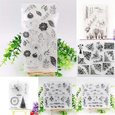 Flower Transparent Silicone Clear Rubber Mix Stamp Sheet Cling Scrapbooking DIY