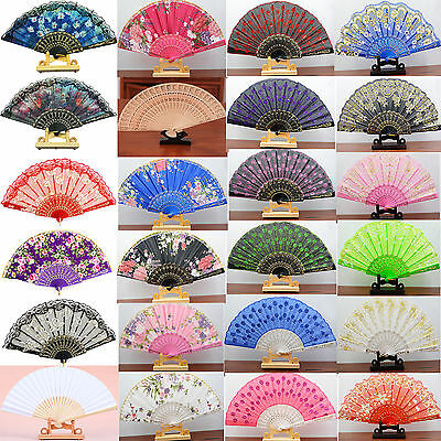 Chinese Spanish Silk Lace Fabric Folding Held Dance Hand Fan Party Wedding Dress