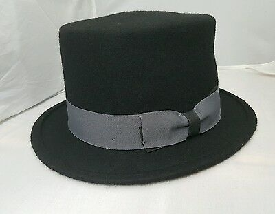 Quality Hand Made Black 12.5cm High Top Hat Topper Hat Wedding Hat 4 Sizes WOOL