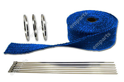 10M BLUE HEAT WRAP EXHAUST MANIFOLD DOWNPIPE + 10 CABLE TIES 36cm 1000 Degree