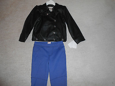Girls 2 Piece Jacket & Trousers Outfit, age 4, BNWT, faux Leather Jacket