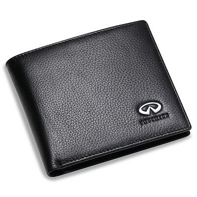 new Infiniti Black Bifold Wallet Genuine Calfskin Leather with 6 Credit Card Men
