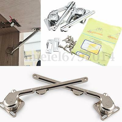 2 Lift Up Lid Support Door Stay Piston Hinge Kitchen Cupboard Cabinet Soft Close