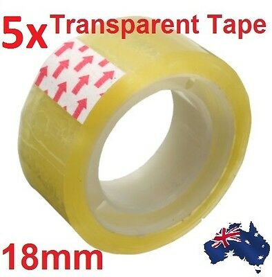5x Rolls 18mm Clear Strong Transparent Scotch Tape Sealing Packing Stationery