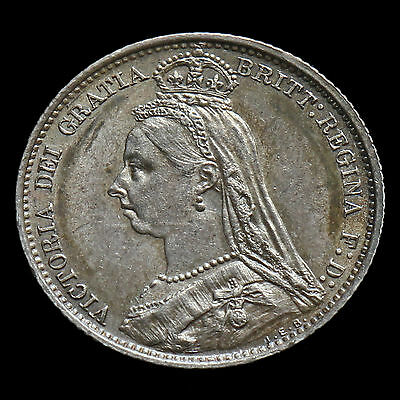 1887 Victoria Jubilee Head Silver Sixpence – Withdrawn Type – AU