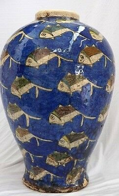 PARSIAN QAJAR Antique BIG Fish Blue VASE ISLAMIC GLAZED ART POTTERT CERAMIC rare