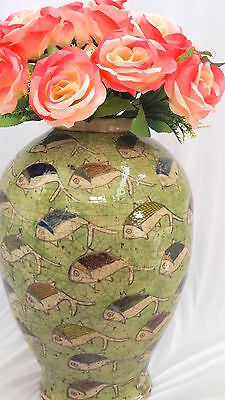 Antique QAJAR PARSIAN ISLAMIC BIG VASE  GLAZED ART POTTERT CERAMIC Fish Green