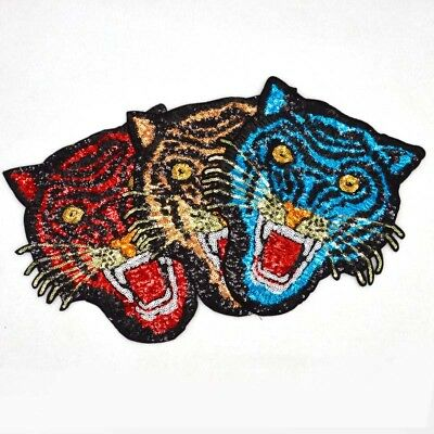 Tiger Large size tiger sequins Embroidery Iron/sew on patch Applique badge Motif