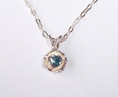 Real TINY 2.2mm Ocean Blue Diamond Rose USA Made Sterling Pend/925 chain 20 in.