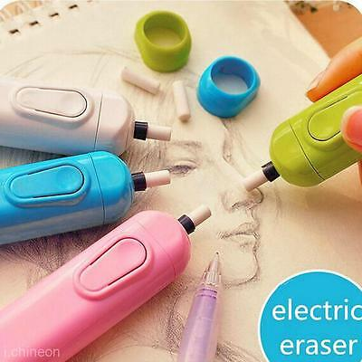 Cute Automatic Electric Eraser With 20 Refills Kit School Stationery Supplies