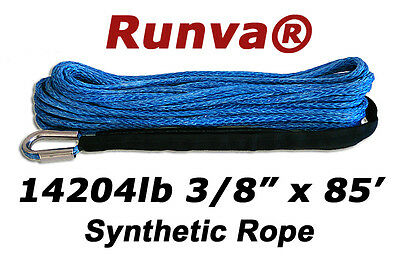 """New Runva Off-Road Synthetic Winch Rope 3/8"""" x 85ft Rated 14204lb"""
