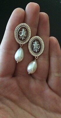 Cameo sardonic earrings in 925 sterling Rosè pearl white Zirconia flower italy