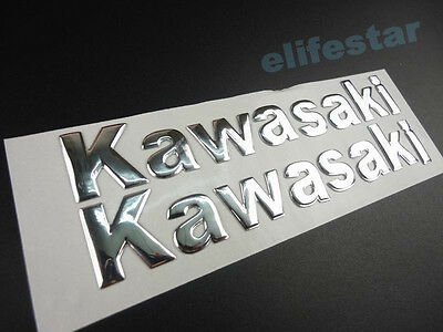 Motorcycle Chrome 3D Fuel Tank Fairing Body Emblem Decal Sticker For Kawasaki