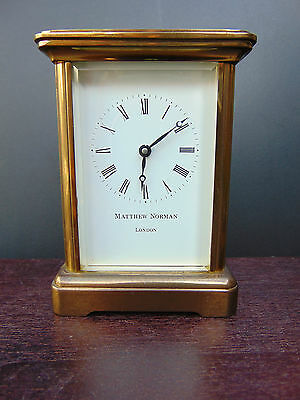 Working MATTHEW NORMAN LONDON SWISS MADE Brass Carriage Clock with Key