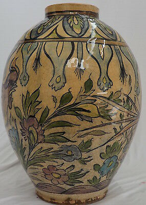 Antique QAJAR PARSIAN ISLAMIC BIG VASE GLAZED ART POTTERT CERAMIC