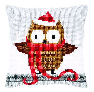 Vervaco - Cross Stitch Cushion Front Kit - Owl in a Santa Hat - PN-0149312