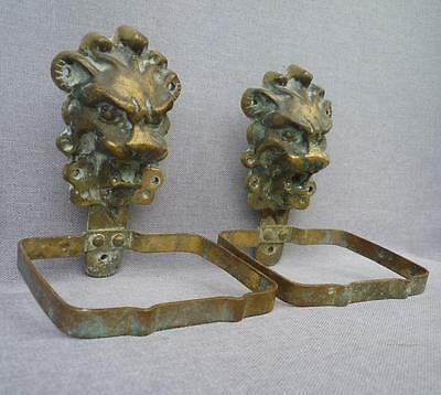 Vintage french pair of soap dishes made of bronze early 1900's lion's head