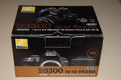 Nikon D3300 24.2MP Digital SLR Camera Blak AF-S DX 18-55mm f/3.5-5.6G VR II Lens