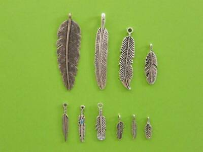 The Feather Collection - 10 antique silver tone charms