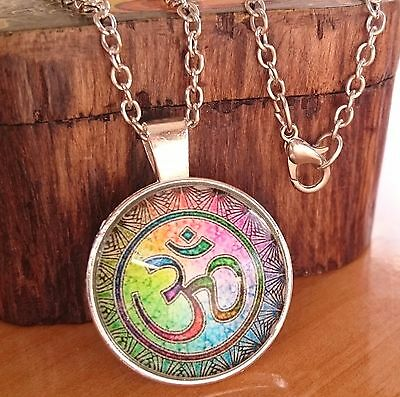 Yantra Mandala Sacred Geometry Picture Amulet Pendant Necklace Yoga OM + Pouch