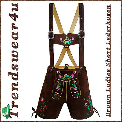 Authentic Lederhosen Oktoberfest Ladies Outfit German Bavarian Trachten Short 22