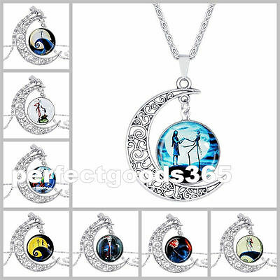Nightmare Before Christmas Silver Glass Pendant Necklace Women Gift UK Stock