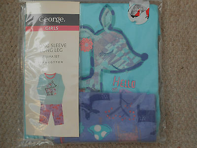 Lovely Girls Sparkly Reindeer Pyjamas, George, BNWT, Beautiful Colours!, Age 3-4