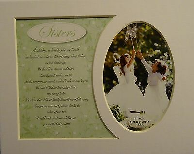 """""""Sisters"""" Keepsake photo mount to fit 8"""" x 10"""" Bedroom Living Room Home Study"""