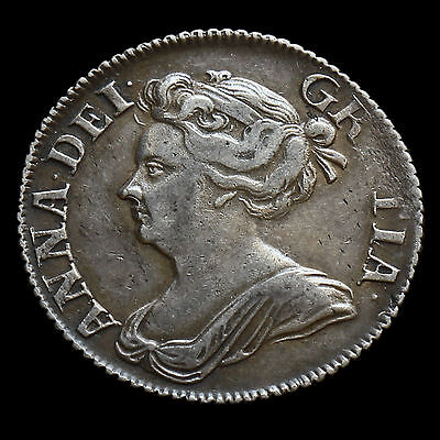 1709 Queen Anne Early Milled Silver Shilling, Third Bust, Plain Angles