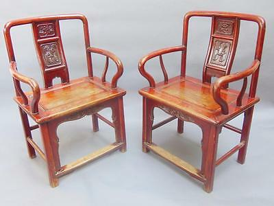 Good Pair of 19th Century Chinese Elm & Red Lacquer Armchairs