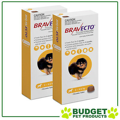 Bravecto for Very Small Dogs 2-4.5kg 1 Chew X 2