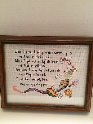 Old Fisherman's Poem Counted Cross Stitch & Embroidery Design Framed