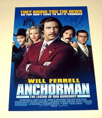 """Anchorman Pp X2 Signed Poster 12""""x8"""" Will Ferrell & Steve Carell"""