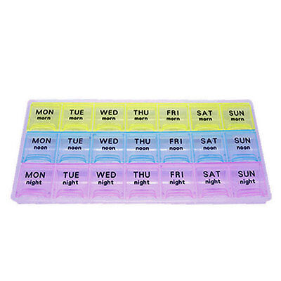 7 Days Weekly Medicine Storage Pill Case Sorter Plastic Box 21 Compartment BN