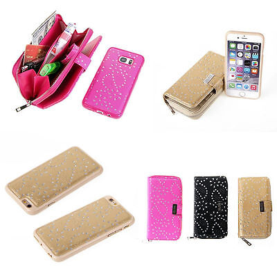 Luxury Magnetic Zipper Leather Wallet Removable Card Slot Case For Phone/Samsung