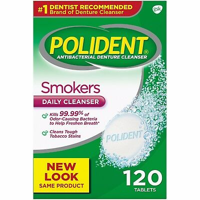 Polident Smokers Denture Cleaner, 120 count