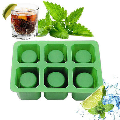 6 Cups Square Ice Cube Shot Glass Silicone Freeze Mold Maker Jello Mould f Party