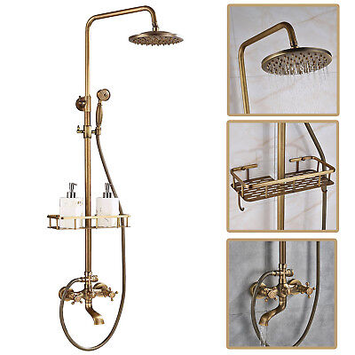 "8"" Round  Antique Brass Solid Brass Shower Faucet Mixer With Handle Shower Tap"