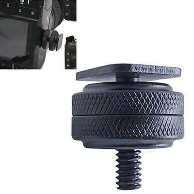 Metal Pro 1/4 inch Dual Nut Tripod Mount Screw To Flash Cameras Hot Shoe Adapter