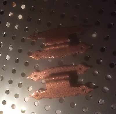 """VIntage Hammered Copper Colonial HINGES 3/8"""" Offset H Style Rustic Cabin Trailer"""