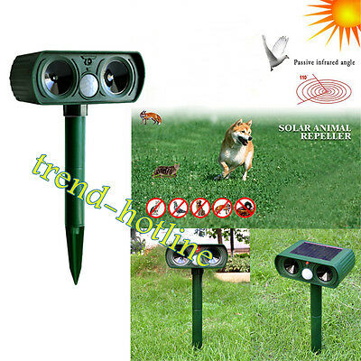 Solar Power Cat Dog Repeller Sonic Garden PIR Animal Scare Pest Deterrent Chaser
