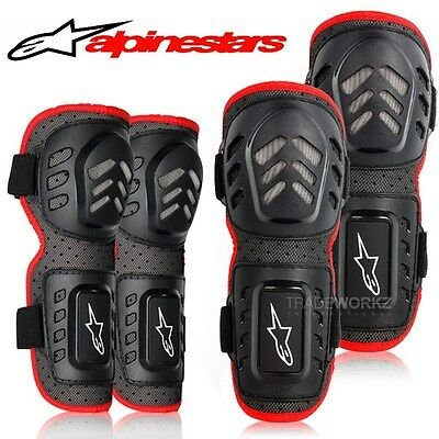 New 4Pcs ALPINESTARS Motocross Motorcycle Racing Knee Elbow Guard Protector Pads
