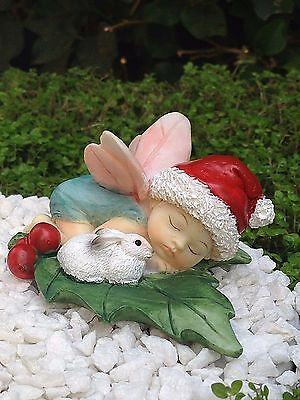 Miniature Dollhouse FAIRY GARDEN ~ CHRISTMAS Fairy Baby Sleeping with Bunny NEW